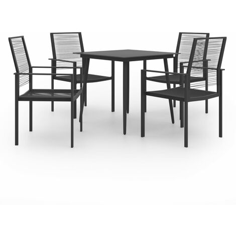 vidaXL 5 Piece Garden Dining Set - Black