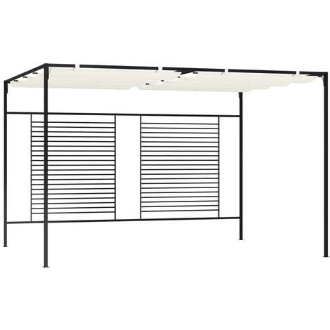 vidaXL Gazebo with Retractable Roof 3x4x2.3 m Cream 180 g/m² - Cream