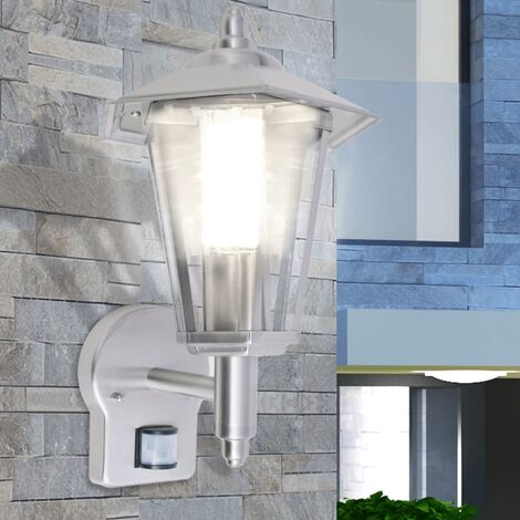 vidaXL Outdoor Uplight Wall Lantern with Sensor Stainless Steel - Silver