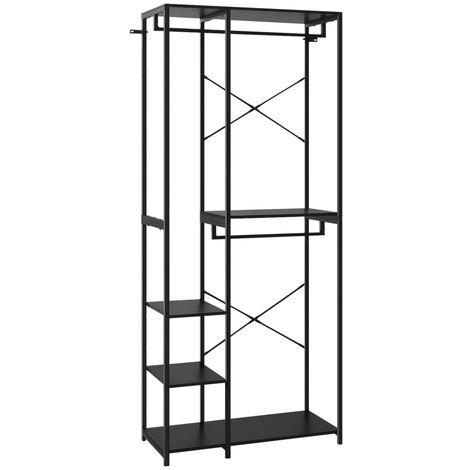 vidaXL Wardrobe Black 90x40x213 cm Metal and Chipboard - Black