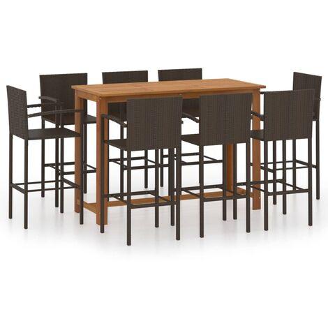 vidaXL 9 Piece Garden Bar Set Brown - Brown