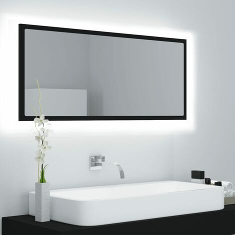 vidaXL LED Bathroom Mirror Black 100x8.5x37 cm Chipboard - Black