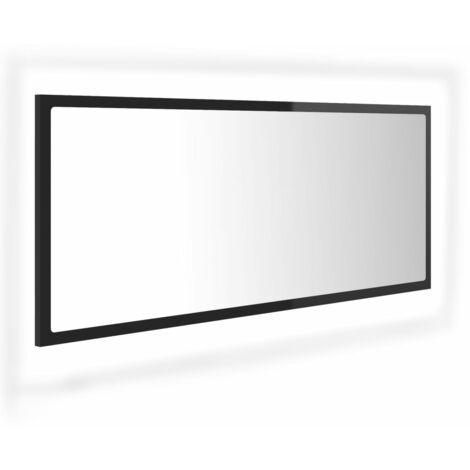 vidaXL LED Bathroom Mirror High Gloss Black 100x8.5x37 cm Chipboard - Black