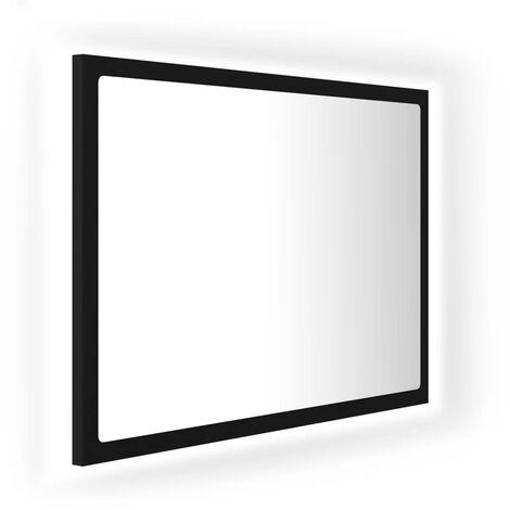 vidaXL LED Bathroom Mirror Black 60x8.5x37 cm Chipboard - Black