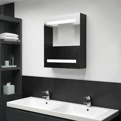 vidaXL LED Bathroom Mirror Cabinet Black 50x14x60 cm - Black