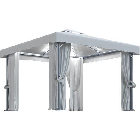 vidaXL Gazebo with Curtain&LED String Lights 3x3 m Cream White - Cream