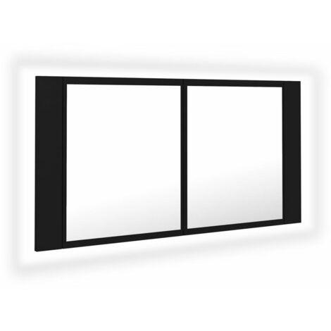 vidaXL LED Bathroom Mirror Cabinet Black 90x12x45 cm - Black