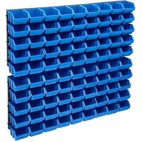 vidaXL 96 Piece Storage Bin Kit with Wall Panels Blue and Black - Blue