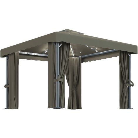vidaXL Gazebo with Curtain&LED String Lights 3x3 m Taupe - Taupe