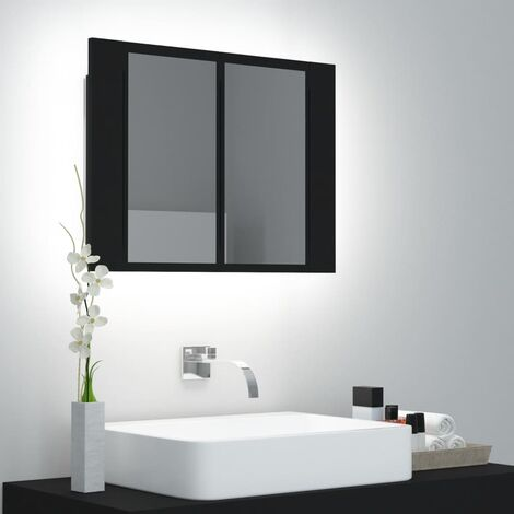 vidaXL LED Bathroom Mirror Cabinet Black 60x12x45 cm - Black