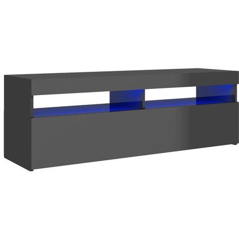 vidaXL TV Cabinet with LED Lights High Gloss Grey 120x35x40 cm - Grey