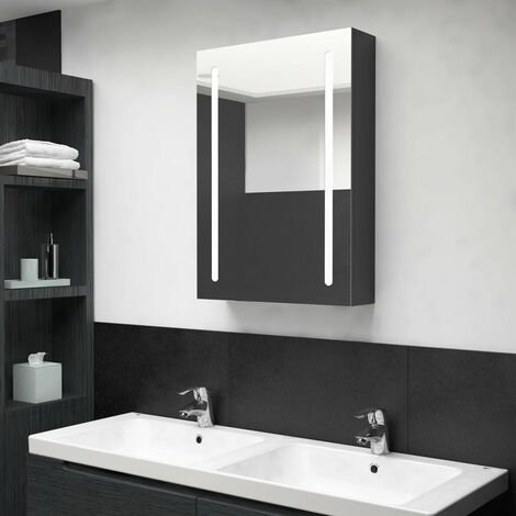 vidaXL LED Bathroom Mirror Cabinet Shining Black 50x13x70 cm