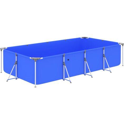 vidaXL Swimming Pool with Steel Frame 394x207x80 cm Blue