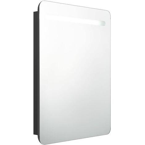 vidaXL LED Bathroom Mirror Cabinet Black 60x11x80 cm - Black