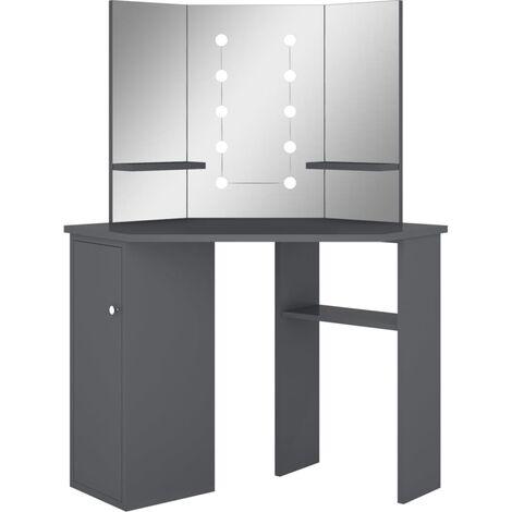 vidaXL Corner Dressing Table with LED Grey 111x54x141.5 cm - Grey
