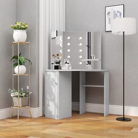 vidaXL Corner Dressing Table with LED Concrete Grey 111x54x141.5 cm