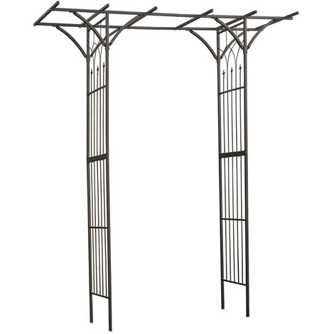 Nature Garden Arch Metal 114x66x232 cm Black - Black