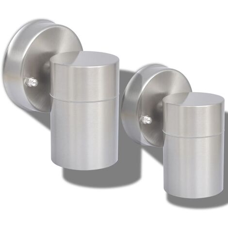 vidaXL Outdoor Wall Lights 2 pcs Stainless Steel Downwards - Silver