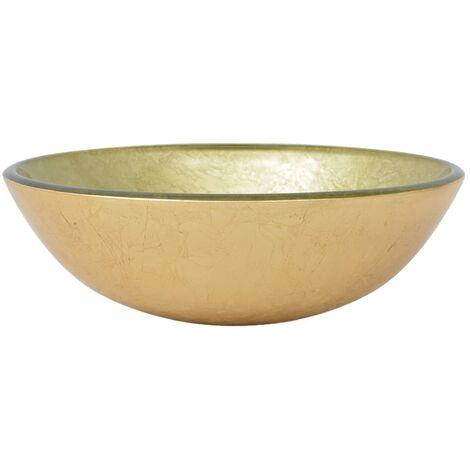 vidaXL Basin Tempered Glass 42 cm Gold - Gold
