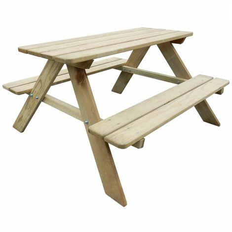 vidaXL Kid's Picnic Table 89 x 89.6 x 50.8 cm Pinewood - Beige