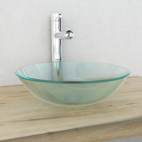 vidaXL Basin Tempered Glass 42 cm Frosted - White