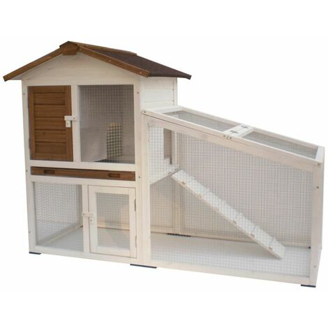 @Pet Rabbit Hutch Tommy White and Brown 140x65x100 cm 20072 - White