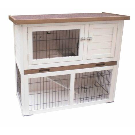 @Pet Rabbit Hutch Kiki White and Brown 92x45x80 cm 20077 - Multicolour