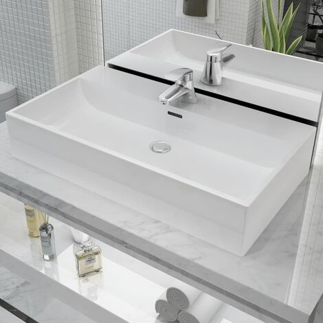 vidaXL Basin with Faucet Hole Ceramic White 76x42.5x14.5 cm - White