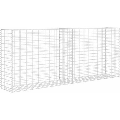 vidaXL Gabion Basket Galvanised Steel 85x30x200 cm - Silver