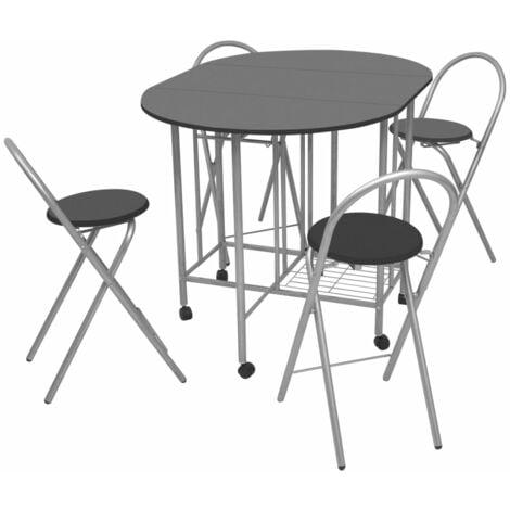 vidaXL Five Piece Folding Dining Set MDF Black - Black
