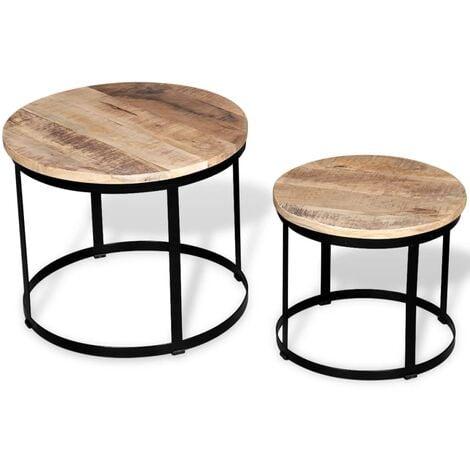 vidaXL Two Piece Coffee Table Set Round 40 cm/50 cm Rough Mango Wood - Black