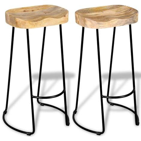vidaXL Bar Stools 2 pcs Solid Mango Wood - Multicolour