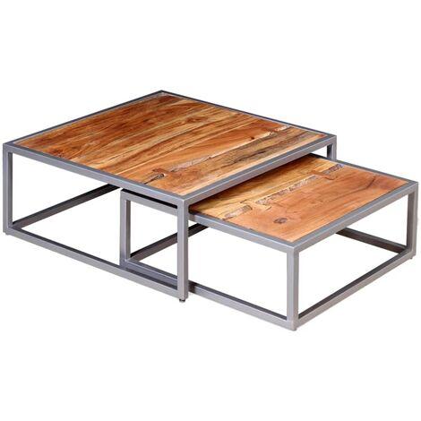 vidaXL Two Piece Coffee Table Set Solid Acacia Wood - Brown