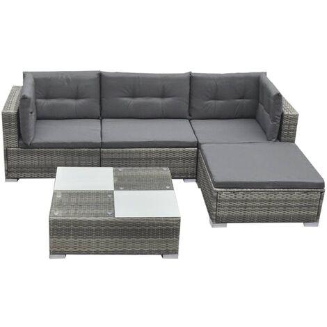 vidaXL 5 Piece Garden Lounge Set with Cushions Poly Rattan Grey - Grey