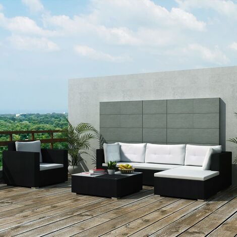 vidaXL 6 Piece Garden Lounge Set with Cushions Poly Rattan Black - Black