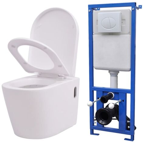 vidaXL Wall Hung Toilet with Concealed Cistern Ceramic White - White