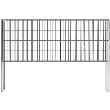 vidaXL 2D Gabion Fence Galvanised Steel 2.008x0.83 m 4 m (Total Length) Grey - Grey