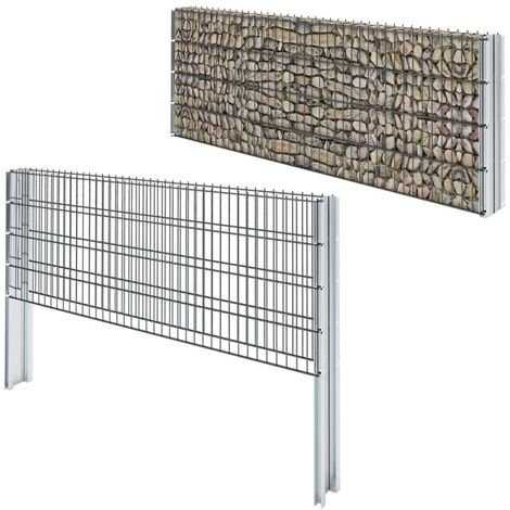 vidaXL 2D Gabion Fence Galvanised Steel 2.008x0.83 m 14 m (Total Length) Grey - Grey