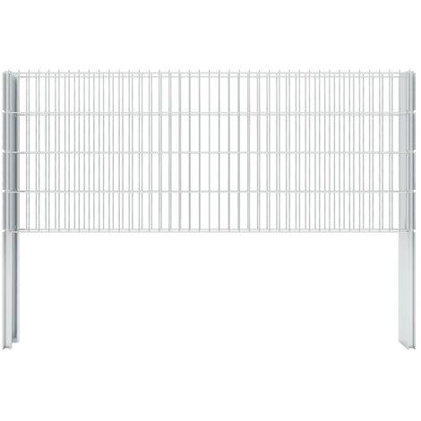 vidaXL 2D Gabion Fence Galvanised Steel 2.008x0.83 m 12 m (Total Length) Silver - Silver