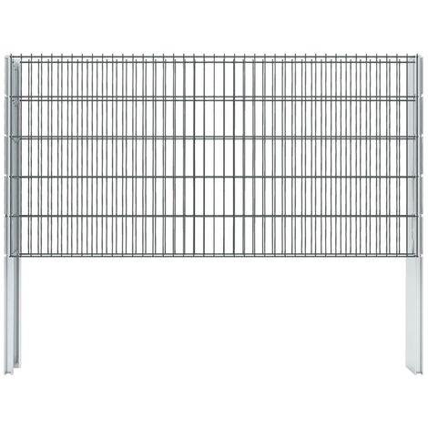 vidaXL 2D Gabion Fence Galvanised Steel 2.008x1.03 m 10 m (Total Length) Grey - Grey