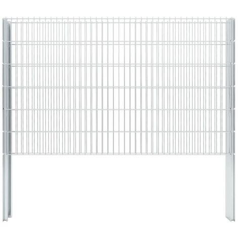vidaXL 2D Gabion Fence Galvanised Steel 2.008x1.23 m 12 m (Total Length) Silver - Silver