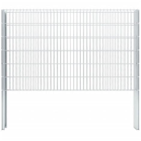 vidaXL 2D Gabion Fence Galvanised Steel 2.008x1.23 m 16 m (Total Length) Silver - Silver