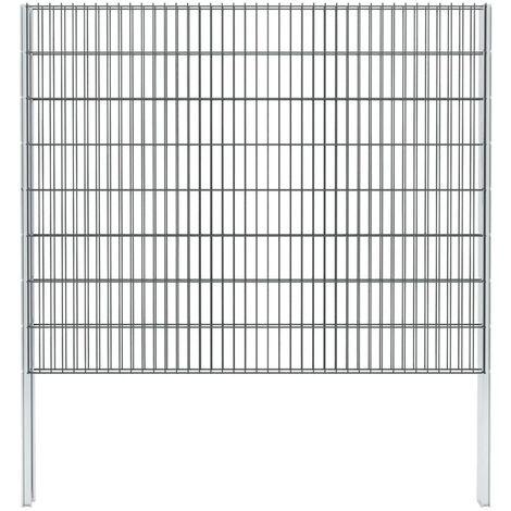 vidaXL 2D Gabion Fence Galvanised Steel 2.008x1.63 m 20 m (Total Length) Grey - Grey