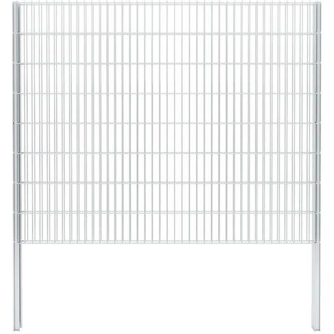 vidaXL 2D Gabion Fence Galvanised Steel 2.008x1.63 m 12 m (Total Length) Silver - Silver