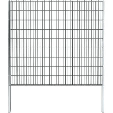 vidaXL 2D Gabion Fence Galvanised Steel 2.008x1.83 m 6 m (Total Length) Grey - Grey