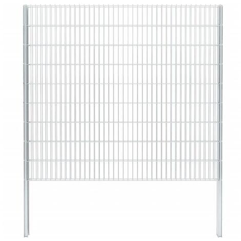 vidaXL 2D Gabion Fence Galvanised Steel 2.008x1.83 m 10 m (Total Length) Silver - Silver