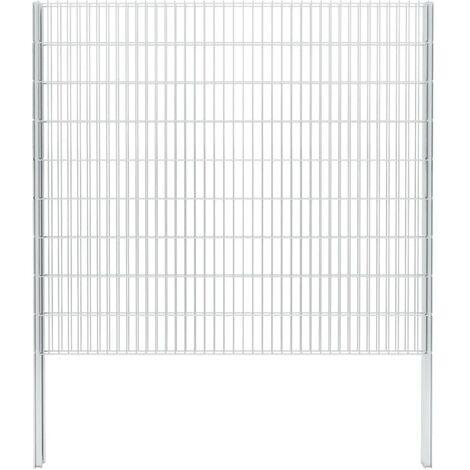 vidaXL 2D Gabion Fence Galvanised Steel 2.008x1.83 m 14 m (Total Length) Silver - Silver