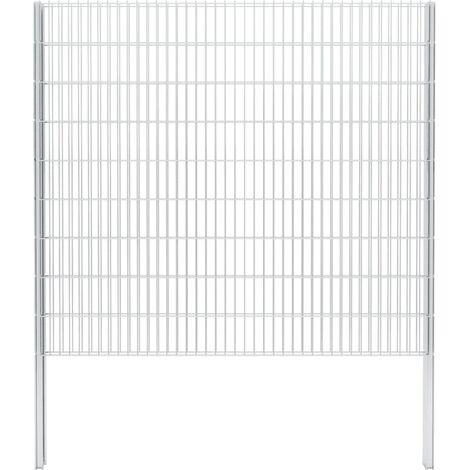 vidaXL 2D Gabion Fence Galvanised Steel 2.008x1.83 m 18 m (Total Length) Silver - Silver