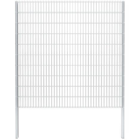 vidaXL 2D Gabion Fence Galvanised Steel 2.008x2.03 m 2 m (Total Length) Silver - Silver