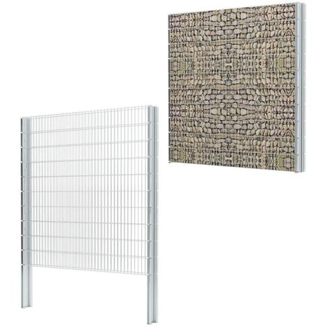 vidaXL 2D Gabion Fence Galvanised Steel 2.008x2.03 m 4 m (Total Length) Silver - Silver